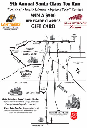 Renegade Classics Toy Run Route Map